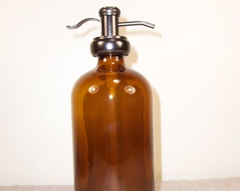Jar 32 ounce oz Bottle Soap Dispenser Bathroom Kitchen Pump Brown Glass Metal Shampoo Spray Refillable container reuse liquid storage Amber