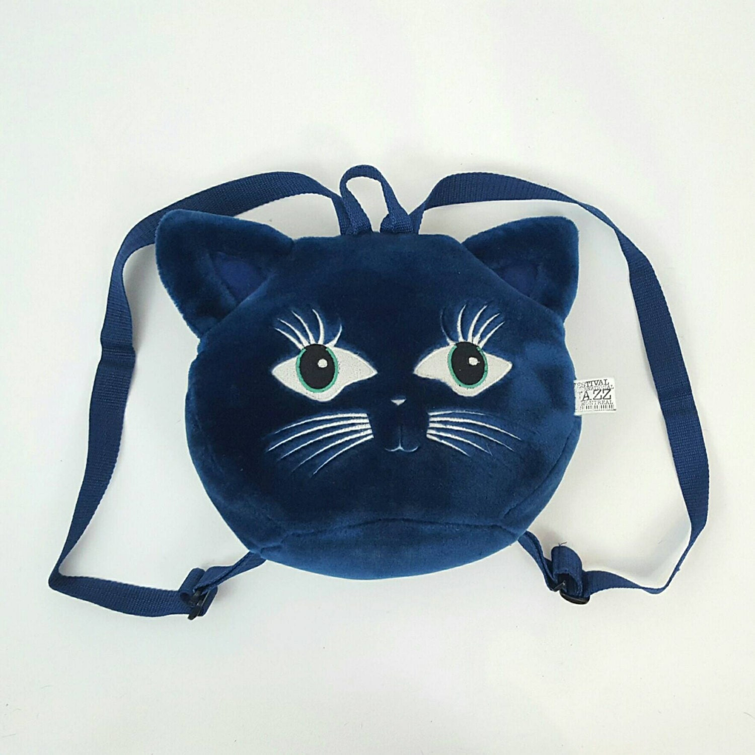 Blue Kitty 90's Animal Backpack Purse - Blue Velvet Plush Cat ...