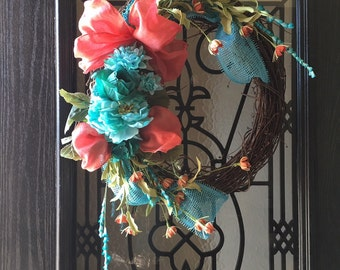 Spring Teal coral grapevine wreath