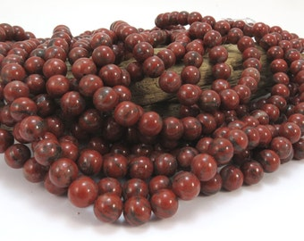Red Sesame Jasper Beads, Natural 8mm Round, 16 inch Strand, 8mm Red Beads, Beading Supplies, Item 953pm