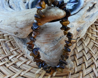 Tiger Eye (Golden, Yellow) stretchy bracelet ~ One Reiki infused gemstone chip bead bracelet approx 7 inches