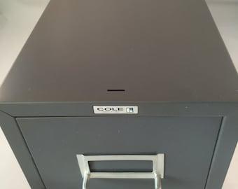 Vintage Cole Industrial File Drawer/Cabinet, Grey