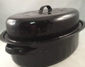 "Enamelware Roaster Black with White Specks 15"" Handle to Handle, Large Roaster, Vintage Speckled Large Roaster"