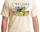 PHISH Riding A Hot Dog T-Shirt Original Tan 5250 Hanes Comfortsoft tagless tee- ask about our Custom Shirt Deals