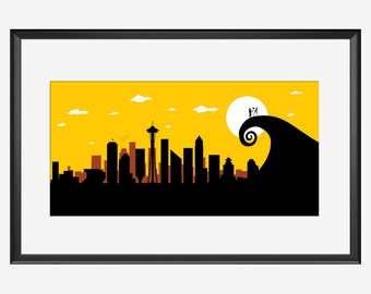 Seattle Skyline print, Seattle print, Seattle art, Seattle, Seattle poster, Nightmare before Christmas, Jack and Sally, Tim burton inspired