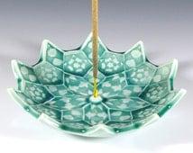 Lotus Bloom Incense Burner - Emerald Green Ceramic Incense Holder - Heart Chakra Meditation Aid