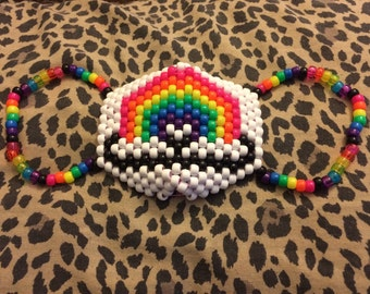 White rainbow kandi mask