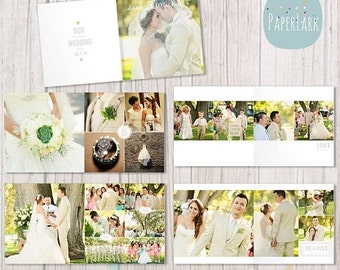 SALE NOW ON Wedding Album Template - 12 x 12 and 10x10 inch supplied - Photoshop template - Rw001 - Instant Download