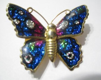 Blue Glitter Vintage Butterfly Pin or Pendant Sparkly Foil