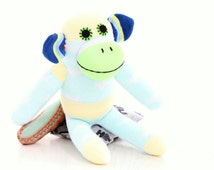 Personalized Cubby Sock Monkey Stuffed Animal Doll Baby Toys Mint Green sock doll  gift under 25 children's photo props Toddler gift 2#