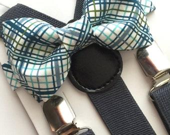 Boys Green Argyle  Bow tie/Suspenders Set, Light Grey Suspenders/Dark Grey Suspenders, Toddler Bow Tie, Infant Bow Tie