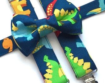 Dinosaurs Suspenders/ Bow Tie Set! Kids Dinosaurs Bow Tie. Dinosaurs Suspenders.