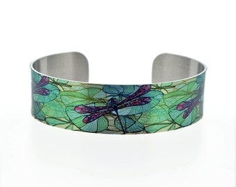 Dragonfly jewellery cuff bracelet, metal bangle with dragonflies and water lilies. Nature lover, dragonfly gifts. Secret message. B101