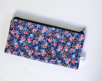 Cute Pencil Case, Floral Pencil Pouch Organizer, Pen Holder, Gift for Student School Supply Bag Rifle Fabric Zipper Bag Navy Blue Makeup Bag