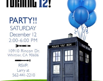 Custom Doctor Who invitation for Jordan