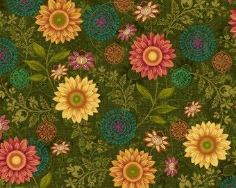 Autumn Elegance Sunflower Fabric