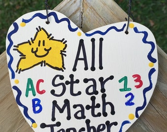 Teacher Gifts 5030 All Star Math Teacher Handmade