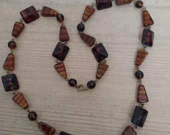 Vintage glass bead necklace in browns