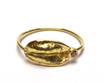 Leaves Ring - Gold Ring - 18k gold ring - Rings - Diamond Ring - Flower Ring - Seeds Collection - free shipping.