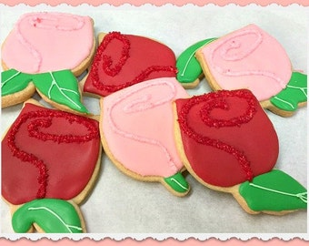 Red and Pink Rose Cookies
