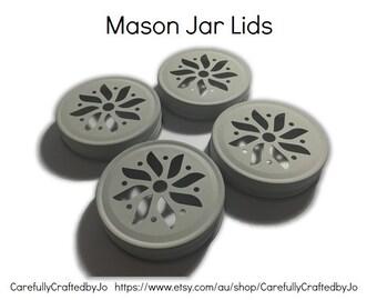 Mason Jar Lids - White - Set of 4