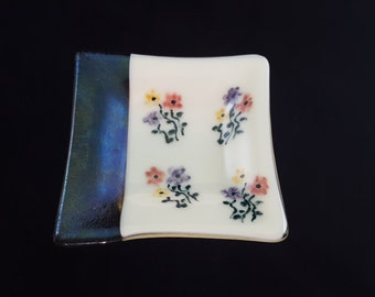 Painted Floral Cream and Bronze Fused Glass DIsh