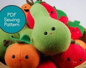 Fruit Pattern Bundle, PDF Sewing Pattern, Pear, Apple, Orange, Strawberry Sewing Pattern