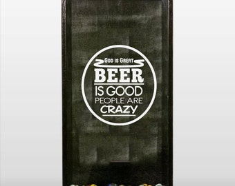 God is Great, Beer is Good, People are Crazy Vinyl Sticker Decal for making Beer Cap Shadow Box