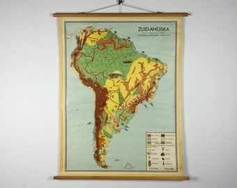 Vintage pull down school chart: South America