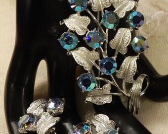 Vintage Coro Blue AB Rhinestone Brooch and Earrings