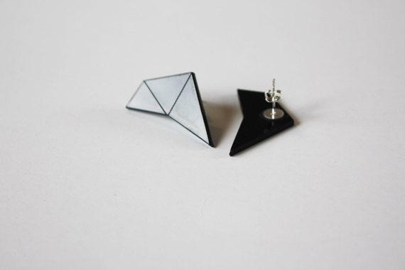 OPTIMUS Geometric stud earrings, Retro earrings,geometric jewelry, perspex earrings