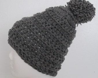 Chunky Beanie Hat with Pom Pom-Gray Heather