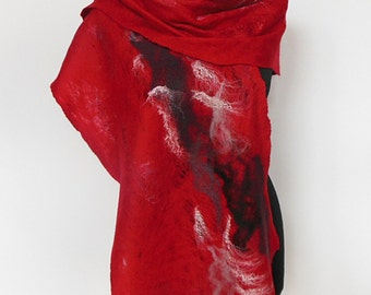 Felted scarf,  felt scarf, felted wool scarf, wool scarf, winter scarf, womens scarf,  red gray black scarf