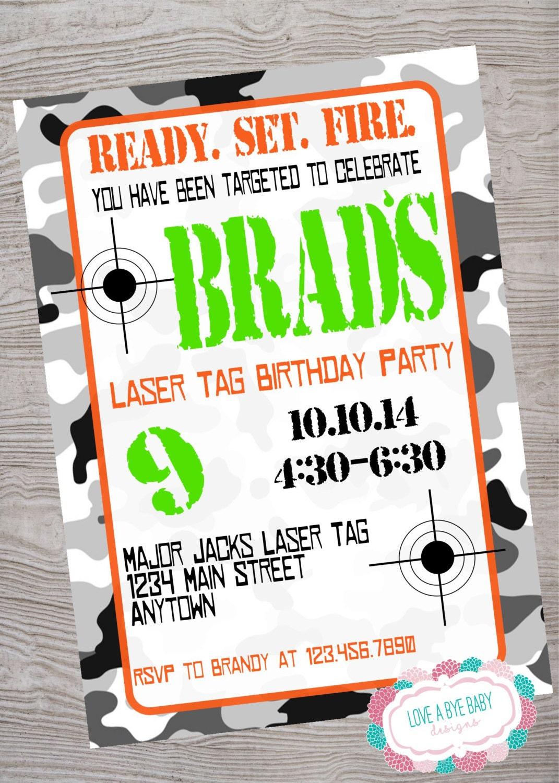 Laser Tag Camo Birthday Party Invitation Printable Digital