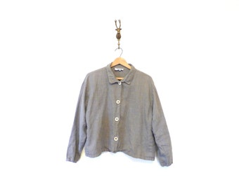 Slate Grey Linen Blouse / Cropped Linen Top