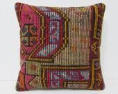 20x20 autumn kilim pillow rich colored pillow 20x20 pillowcase large pillow sham turkish pillow case decorative accessories floral rug 26685