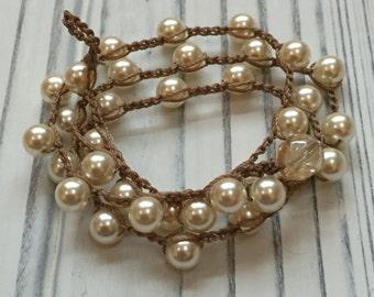 Earthy Boho-Style Swarovski Cream Pearl Crochet Necklace
