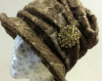 Stunning Mink Coloured Crushed Faux Fur Lady Mary style 20's  Cloche Hat with Cosy Polar Fleece Lining and Brooch