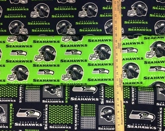 Seattle Seahawks NFL Logo Navy & Lime Green Cotton Fabric by Fabric Traditions! [Choose Your Cut Size]