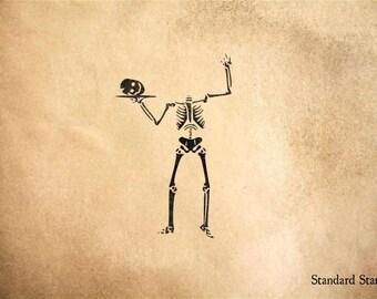 Skeleton Skull on Platter Rubber Stamp - 2 x 2 inches