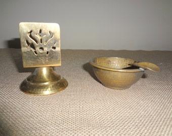 Old Vintage Brass Metal Ashtray and Matchbox Holder