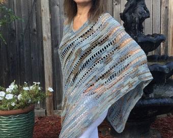 Crochet Poncho Pattern PDF, Open Mesh Crochet,  Easy crochet pattern