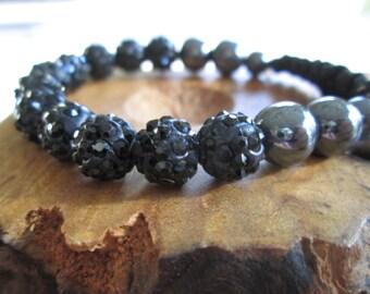 Adjustable Black and Charcoal grey beaded Bracelet