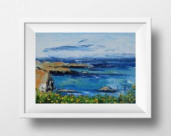 Beach Decor, Beach Print, California Print, Mendocino Coast, Pacific Ocean, Palette Knife, California Poppy, Wine Country, San Francisco