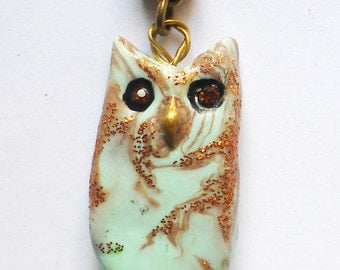 Owl Pendant Polymer Clay Mint Green