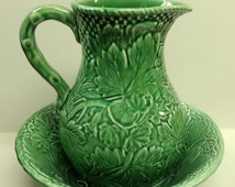Shop Small Business Sale VIntage Bordallo Pinheiro Portugal Embossed Vine Leaves Ivy Green Pottery Pitcher & Bowl