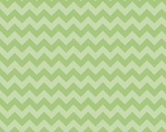 Green Tone on Tone Small Chevron Fabric by Riley Blake Designs. 100% cotton. Small Zig Zag Chevron. C400-31