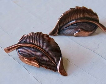 Copper Leaf Earrings Clipon Vintage Jewelry Repurpose Reuse Wear