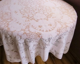 Vintage Lace Table Cloth White Rectangle Table Cloth Wedding Table Cottage Kitchen Farmhouse Decor