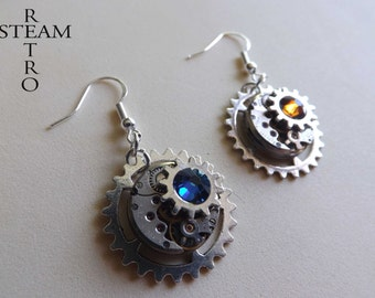 10% off sale17 Steampunk gears on gears earrings Vintage watch movement Swarovski Steampunk Earrings - Steampunk Jewelery